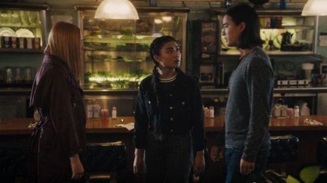 Topshop Grey Pinstriped Jeans outfit worn by Alex Portnoy (Brianne Tju) in Light as a Feather Season 2 Episode 10 - TV Show Outfits and Products