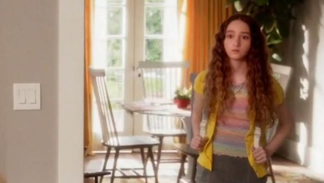 Fashion Trends 2021: Topshop Pastel Rainbow T-Shirt outfit seen on Mae (Olivia Keville) in Splitting Up Together (S02E03)