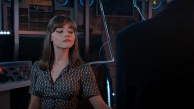 Topshop Piped Tile Printed Shirtdress outfit seen on Clara (Jenna Coleman) in Doctor Who (S08E06) - TV Show Outfits and Products