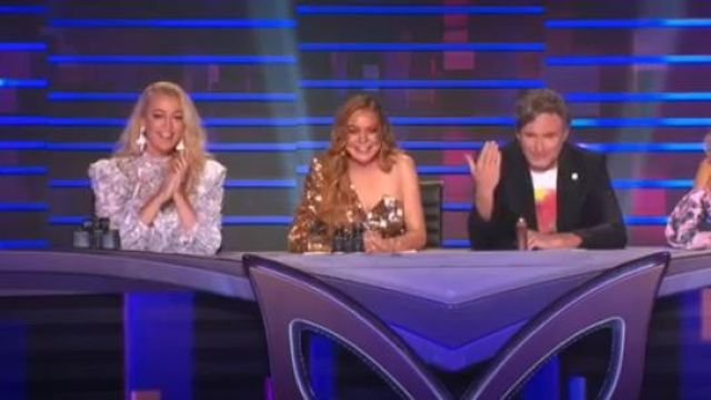 Topshop Sequin One Sleeve Mini Dress outfit worn by Herself - Guessing Panellist (Jackie O) in The Masked Singer Australia Season 1 Episode 3 - TV Show Outfits and Products