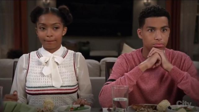 Topshop Stripe Front Crochet Tank outfit worn by Zoey Johnson (Yara Shahidi) in black-ish (S03E02) - TV Show Outfits and Products