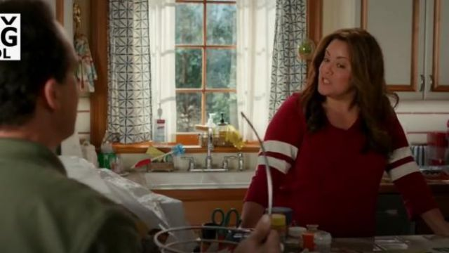 Torrid Dark Red V Neck Football Tee outfit worn by Katie Otto (Katy Mixon) in American Housewife Season 4 Episode 2 - TV Show Outfits and Products