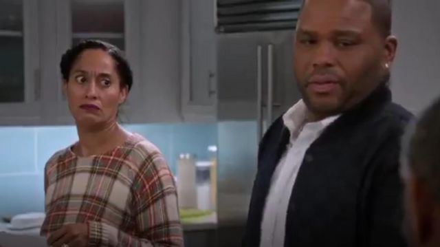 Townsen Sleigh Plaid Sweater outfit worn by Rainbow Johnson (Tracee Ellis Ross) in black-ish (S01E20) - TV Show Outfits and Products