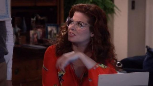 Transparent glasses of Grace Adler (Debra Messing) on Will & Grace (S10E4) - TV Show Outfits and Products