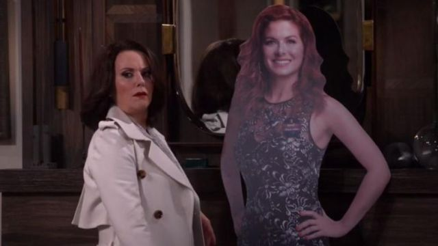"""Trench coat white Karen Walker (Megan Mullally) seen in Will & Grace """" (S10 Episode 4) - TV Show Outfits and Products"""