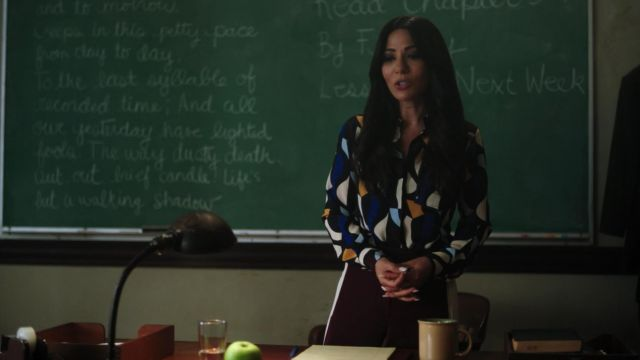 Trousers bordeaux H&M with white stripes outfit worn by Hermione Lodge (Marisol Nichols) seen in Riverdale Season 3 Episode 4 - TV Show Outfits and Products