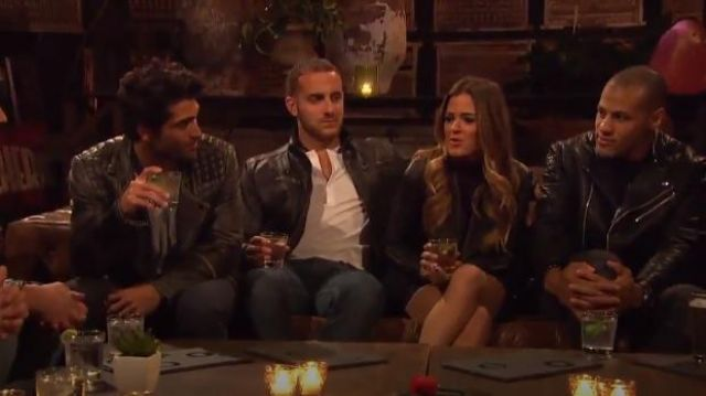 Trouvé Drape Collar Leather Jacket outfit worn by JoJo Fletcher in The Bachelorette (S12E03) - TV Show Outfits and Products
