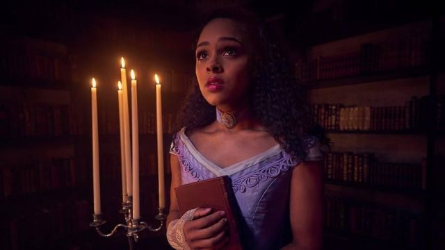 Turn-of-neck violet Emily (Ashley Santos) seen in American Horror Story Revelation (Season 8) - TV Show Outfits and Products