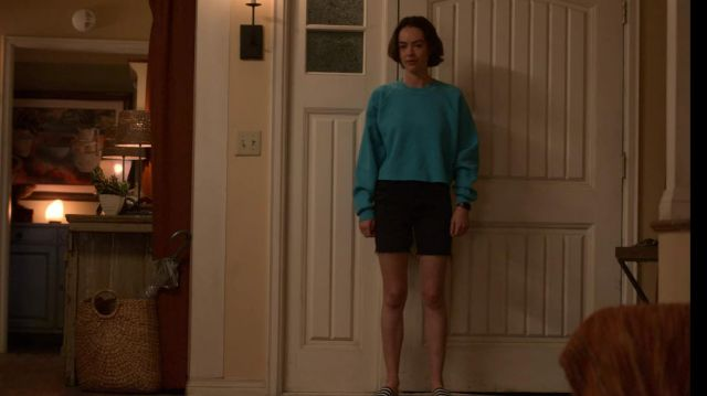 Turquoise Blue Raglan Sweatshirt outfit worn by Casey Gardner (Brigette Lundy-Paine) in Atypical (S03E09) - TV Show Outfits and Products