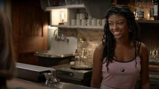 UO pink yin yang embroidered cropped camisole outfit worn by Ali Finer (Javicia Leslie) in God Friended Me Season 02 Episode 03 - TV Show Outfits and Products