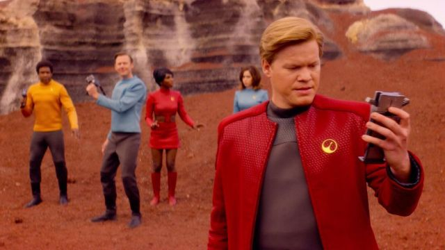 Fashion Trends 2021: USS Callister red jacket outfit seen on Robert Daly (Jesse Plemons) as seen in Black Mirror S04E01