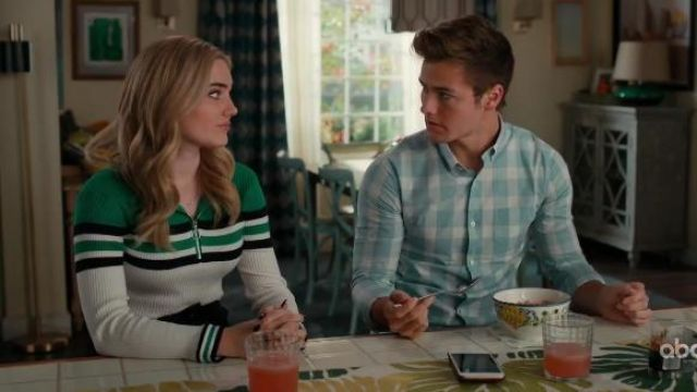 Urban Outfitters Colourblock Stripe Half Zip Funnel Neck Jumper outfit worn by Taylor Otto (Meg Donnelly) in American Housewife Season 4 Episode 7 - TV Show Outfits and Products