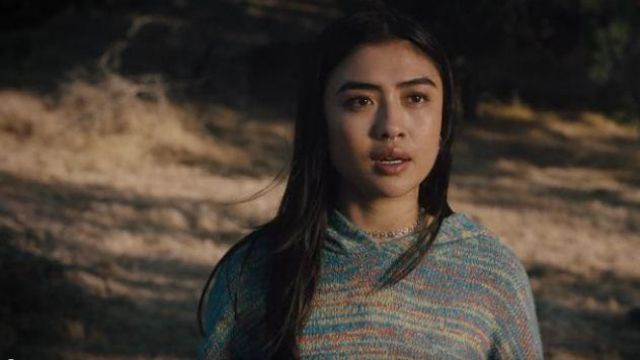 Urban Outfitters Green/blue Space Dyed Hooded Cropped Sweater outfit worn by Alex Portnoy (Brianne Tju) in Light as a Feather S eason 02 Episode 16 - TV Show Outfits and Products