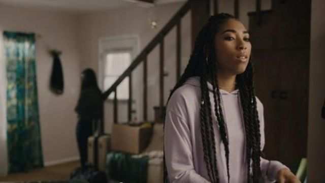 Urban Outfitters Purple cropped hoodie outfit worn by Peri Boudreaux (Adriyan Rae) in Light as a Feather Season 02 Episode 11 - TV Show Outfits and Products