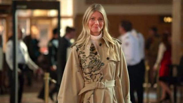 Valentino Tiger print trench coat outfit worn by Georgina Hobart (Gwyneth Paltrow) in The Politician Season 1 Episode 7 - TV Show Outfits and Products