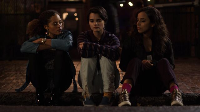 Vans Classic Slip On Sneakers in blue outfit worn by Elodie Davis (Brianna Hildebrand) in Trinkets (S01E02) - TV Show Outfits and Products