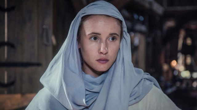 Veil of blue Gisela (Peri Baumeister) seen in The Last Kingdom Season 2 Episode 3 - TV Show Outfits and Products