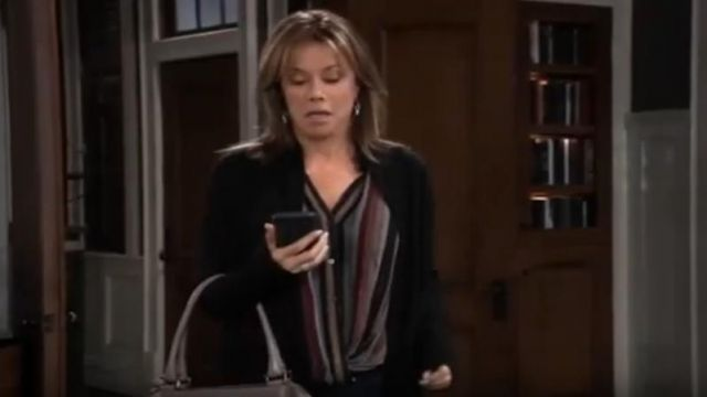 Velvet by Graham & Spencer Nessa Lurex Stripe Blouse outfit worn by Alexis Davis (Nancy Lee Grahn) as seen on General Hospital October 11, 2019 - TV Show Outfits and Products