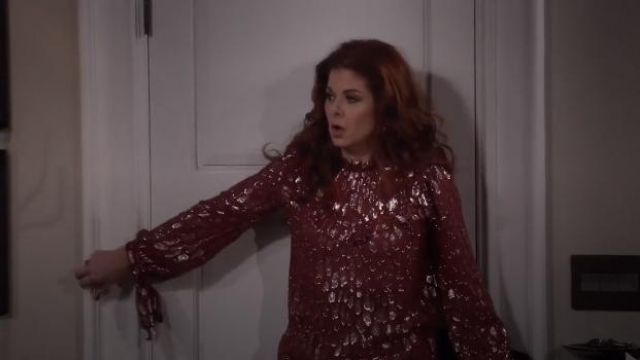 Veronica Beard Brooks blouse outfit worn by Grace Adler (Debra Messing) in Will & Grace (S01E12) - TV Show Outfits and Products