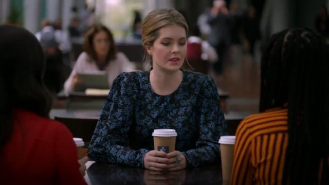 Veronica Beard Clarke Floral Button Back Silk Top outfit worn by Sutton Brady (Meghann Fahy) in The Bold Type (S03E07) - TV Show Outfits and Products