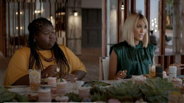 Veronica Beard Green Draped Silk Dress outfit worn by Giselle (Nicole Ari Parker) in Empire Season 06 Episode 06 - TV Show Outfits and Products