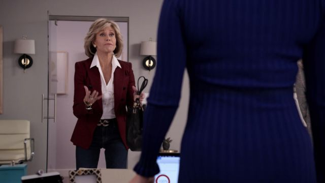 Fashion Trends 2021: Veronica Beard Miller double breasted red jacket outfit seen on Grace Hanson (Jane Fonda) in Grace and Frankie S05E03