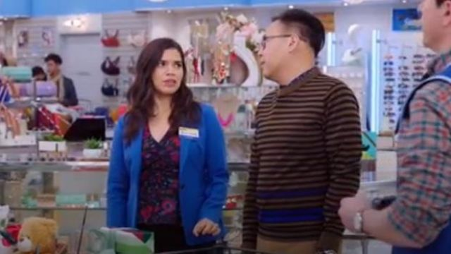 Veronica beard Black and Red Hayden Top outfit worn by Amy (America Ferrera) in Superstore Season 5 Episode 8 - TV Show Outfits and Products