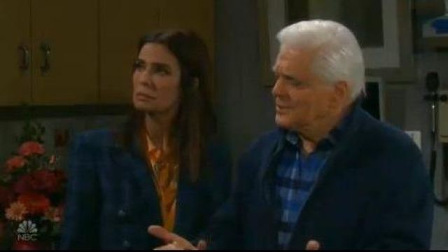 Veronica beard blue plaid blazer outfit worn by Hope Williams (Kristian Alfonso) as seen in Days of Our Lives October 2, 2019 - TV Show Outfits and Products