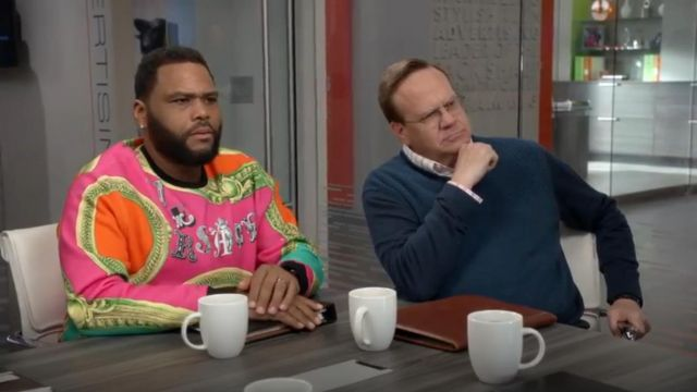 Versace Baroque Print Logo Sweatshirt outfit worn by Andre 'Dre' Johnson (Anthony Anderson) in black-ish (S05E23) - TV Show Outfits and Products