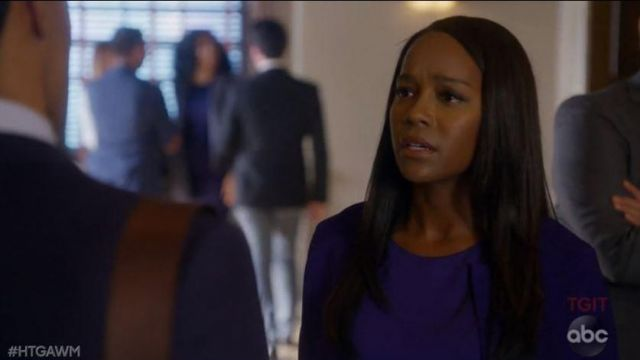 Vest-blue Michaela Pratt (Aja Naomi King) seen in Murder (Season 5 Episode 5) - TV Show Outfits and Products
