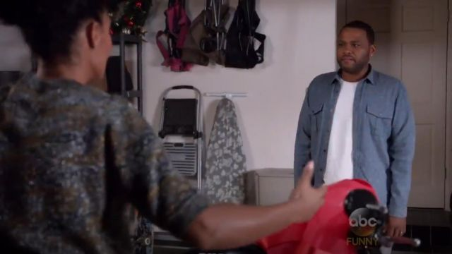 Vince Brushed Twill Long Sleeve Denim Shirt outfit worn by Andre 'Dre' Johnson (Anthony Anderson) in black-ish (S02E02) - TV Show Outfits and Products