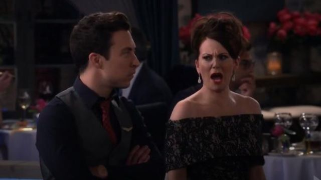 Vince Camuto Off the Shoulder Lace Sheath Dress outfit worn by Karen Walker (Megan Mullally) in Will & Grace (S02E10) - TV Show Outfits and Products