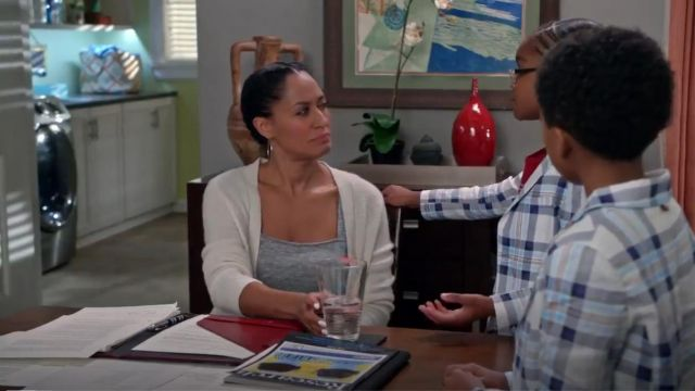 Vince Directional Rib Long Cashmere Cardigan outfit worn by Rainbow Johnson (Tracee Ellis Ross) in black-ish (Season 02 Episode 15) - TV Show Outfits and Products