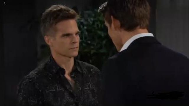 Vince Floral Slim Fit Sport Shirt outfit worn by Kevin as seen in The Young and the Restless June 14,2019 - TV Show Outfits and Products
