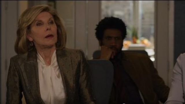 Vince Knotted High-Neck Log-Sleeve Silk Blouse outfit worn by Diane Lockhart (Christine Baranski) in The Good Fight (S03E10) - TV Show Outfits and Products