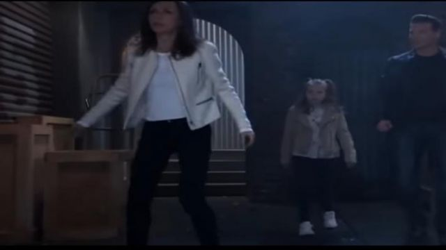 Vince Leather White Jacket outfit worn by Anna Devane (Finola Hughes) as seen on General Hospital November 12, 2019 - TV Show Outfits and Products