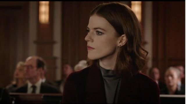 Vince Silk Mockneck Blouse outfit seen on Maia Rindell (Rose Leslie) in The Good Fight (S02E02)