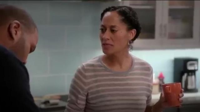 Vince Striped Knit Jumper outfit worn by Rainbow Johnson (Tracee Ellis Ross) in black-ish (Season 01 Episode 10) - TV Show Outfits and Products