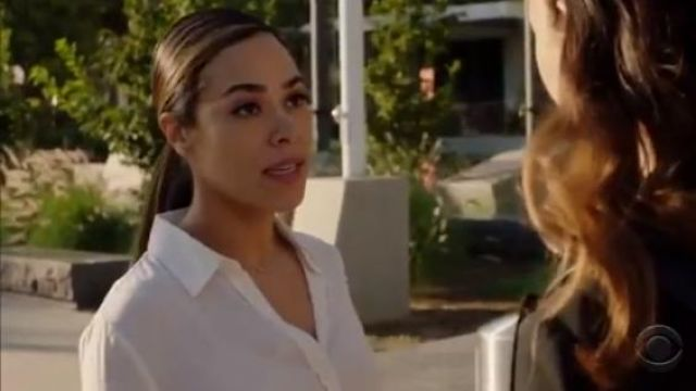 Vince White Slim Fitted Blouse outfit worn by Emily Lopez (Jessica Camacho) in All Rise Season 1 Episode 3 - TV Show Outfits and Products