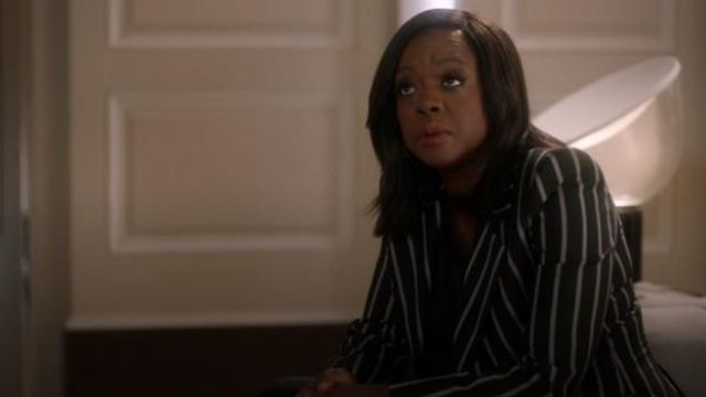 Vivienne Westwood Black Lou Lou single-breasted striped jacket outfit worn by Annalise Keating (Viola Davis) in How to Get Away with Murder Season 6 Episode 8 - TV Show Outfits and Products