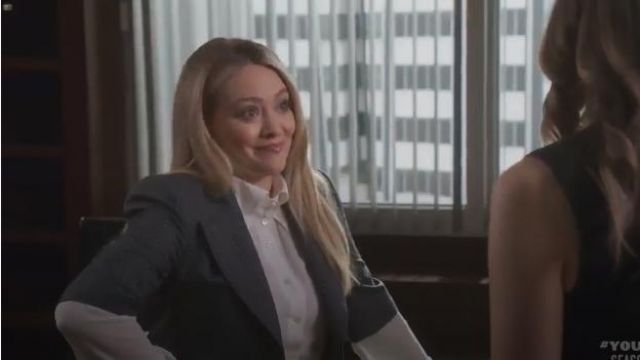 Vivienne Westwood Cropped Jacket Dotted Pinstripe outfit worn by Kelsey Peters (Hilary Duff) in Younger (Season06 Episode01) - TV Show Outfits and Products