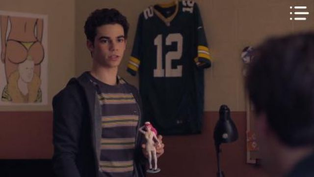 Volcom Striped Tshirt outfit worn by Zach (Cameron Boyce) in Mrs. Fletcher Season01 Episode04 - TV Show Outfits and Products