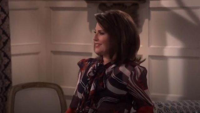Warm Mood Floral Silk Plisse Chiffon Blouse outfit worn by Karen Walker (Megan Mullally) in Will & Grace (S01E15) - TV Show Outfits and Products