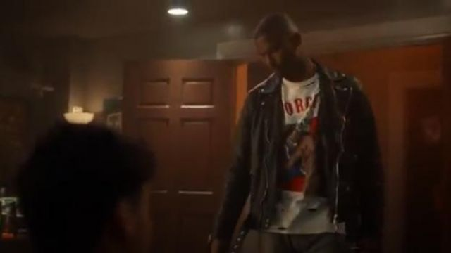 "Warren Lotas ""Unforgiven"" Distressed Cotton T-Shirt outfit worn by Aaron Jackson (Trevor Jackson) in grown-ish (Season 02 Episode 19)"