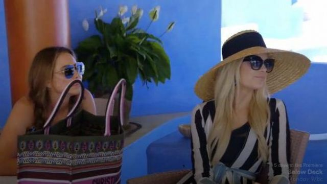 We are leone black and blue vertical striped cardigan outfit worn by Kameron Westcott in The Real Housewives of Dallas Season 04 Episode 05 - TV Show Outfits and Products