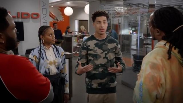 WeSC Anwar Camo Crewneck Sweater outfit worn by Andre Johnson, Jr. (Marcus Scribner) in black-ish (S05E23) - TV Show Outfits and Products