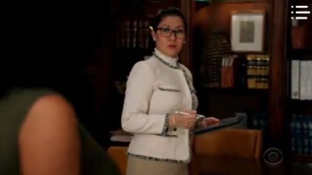 Weekend Max Mara White Tweed Jacket outfit worn by Sherri Kansky (Ruthie Ann Miles) in All Rise Season01 Episode08 - TV Show Outfits and Products