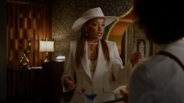 White Asymmetric Wool Blend Blazer outfit worn by Dominique Deveraux (Michael Michele) in Dynasty Season 3 Episode 5 - TV Show Outfits and Products