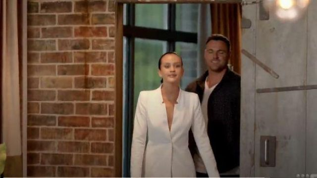 White Blazer Style Shirt Dress outfit worn by Ines Basic in Married at First Sight Season 6 - TV Show Outfits and Products