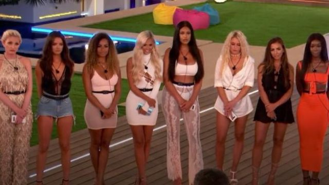 White Satin Western Belt Bardot Playsuit of Lucie Donlan in Love Island (Season 05 Episode 14) - TV Show Outfits and Products